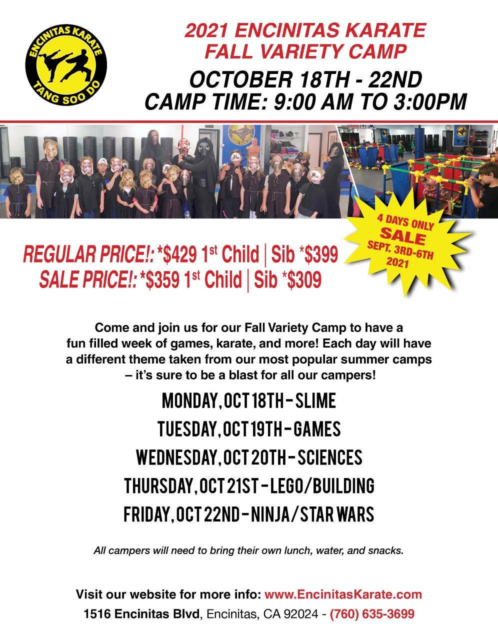 Fall Karate Variety Camp 2021